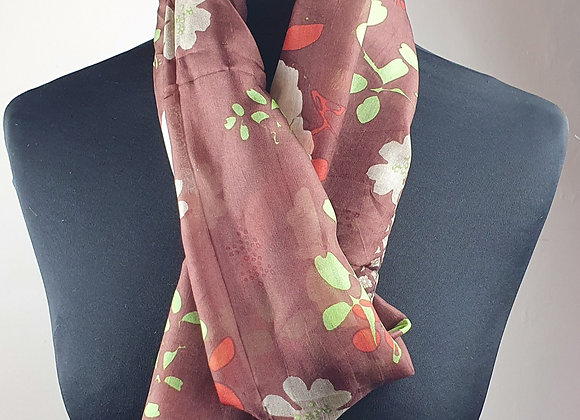 Fine Silk scarf (Brown Floral)