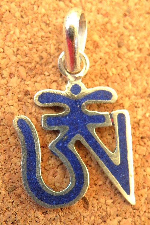 Tibetan aum lapis lazuli inlay **silver Polished**