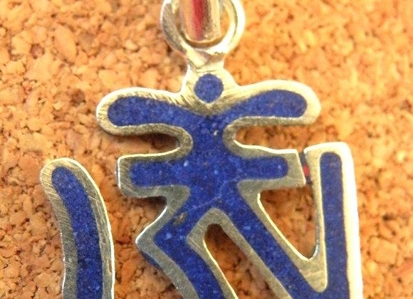 Tibetan Aum Lapis Lazuli inlay **Silver Plated**