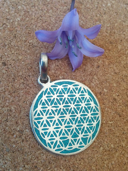 """""""Flower Of Life"""" Sacred Geometry in Turquoise Silver Polished"""