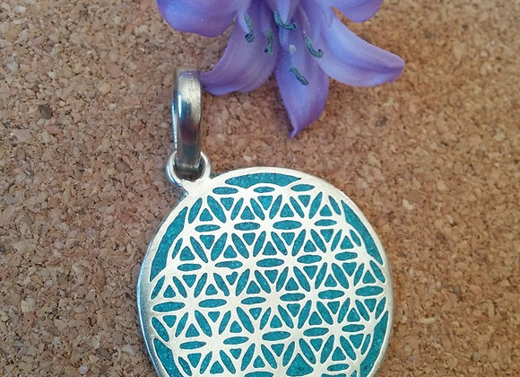 """""""Flower Of Life"""" Sacred Geometry in Turquoise Silver Plated"""