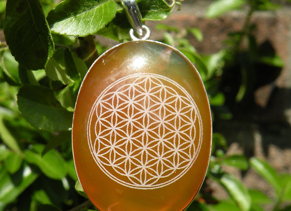 """Flower Of Life"" on Citrine St.Silver"