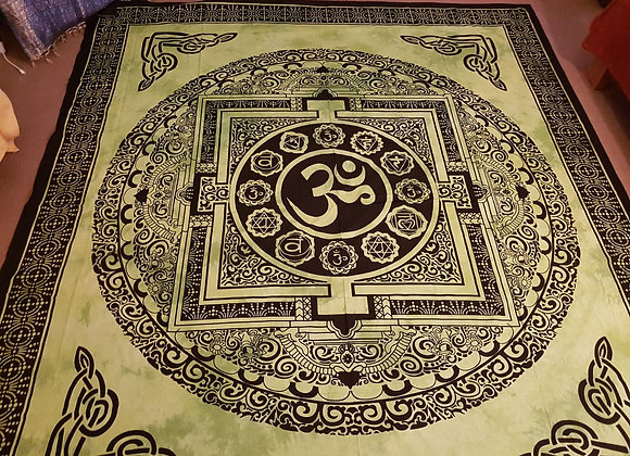 Om Seven Chakra Kalchakra Mandala(Green)