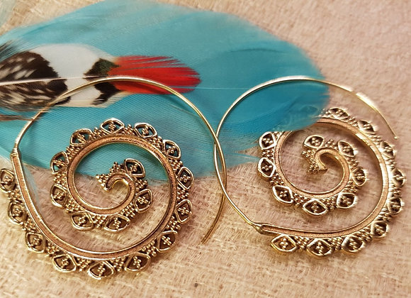 Spiral Flower earring (Brass)