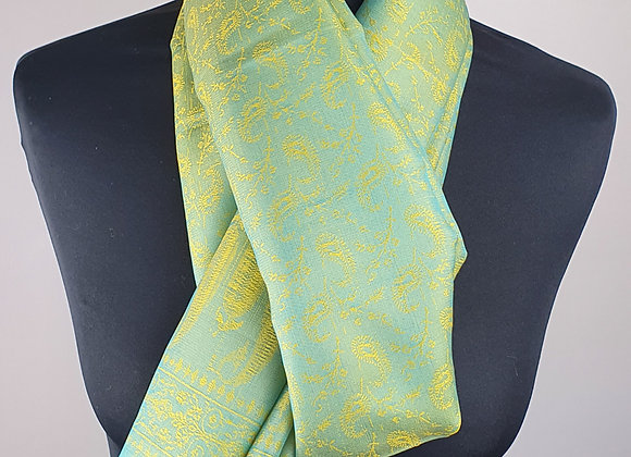 Fine Silk Stole  (Green,Turquoise and Yellow)
