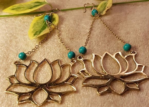 Lotus Earring ( Brass With Turquoise)