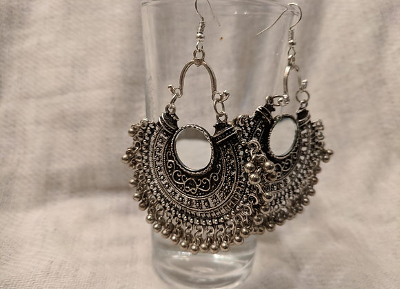 Silver and Brass finished Mirror Earrings