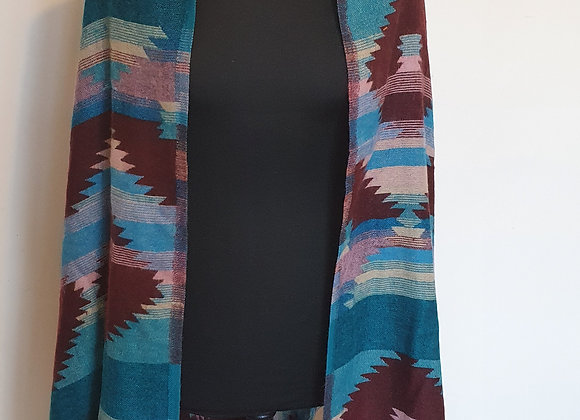 Large Double Sided Yak Woollen Shawl/Blanket (Turquoise,Brown)