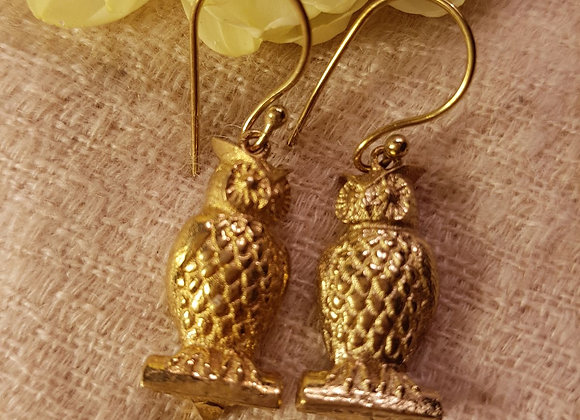The Wise Owl Earrings ( Brass )