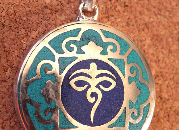 Buddha eyes with Lapis Inlay Work (Silver Plated)