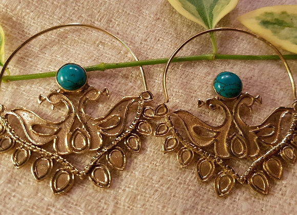Floral Peacock Large Earring (Brass with Turquoise)