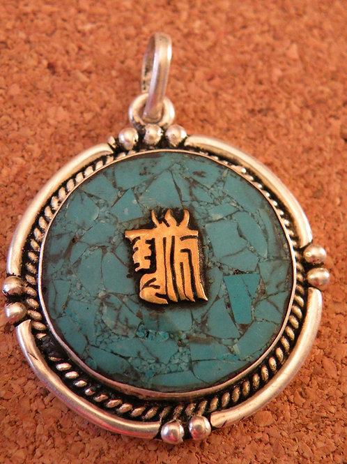 """"""" Buddhist Kalchakra"""" Turquoise Inlay Silver Polished"""