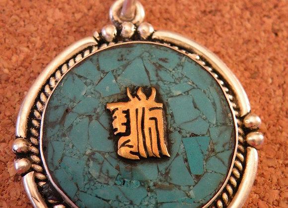 """ Buddhist Kalchakra"" Turquoise Inlay (Silver Plated)"