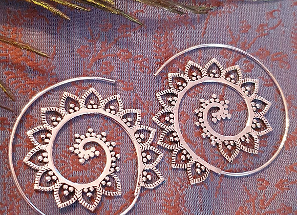 """Lotus Mandala"" (Silver Plated) Spiral Earrings"