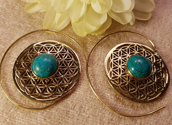 Spiral Flower of Life Earring (Brass With Turquoise))