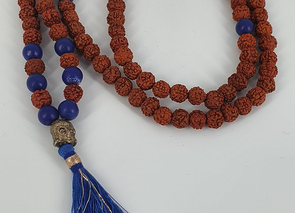 Authentic Shiva  Rudraksha Mala for  Chanting Meditation with Lapis Lazuli