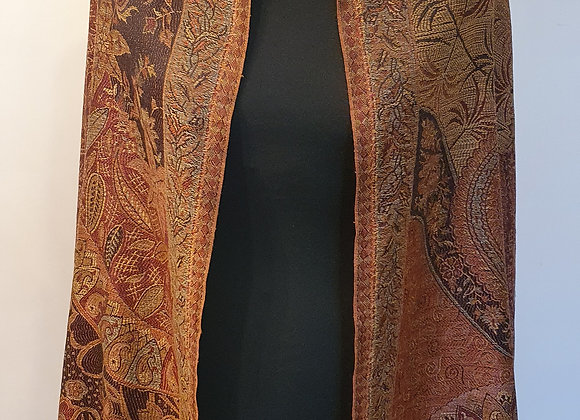 Large Double Sided Fine Woollen Shawl/Blanket ( Black and Shades Of Brown)