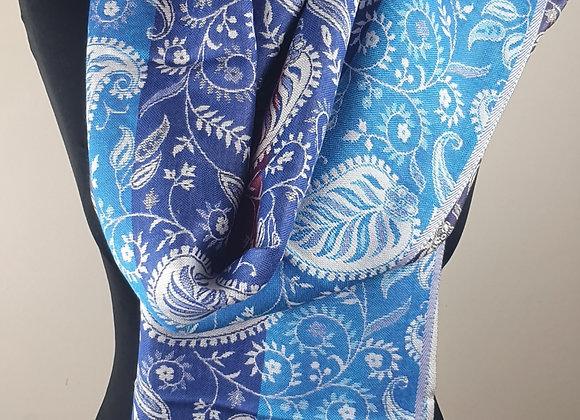 Purple Blue Colour Designer Pashmina Stole