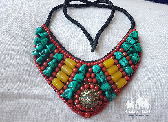 Himalayan Necklace with Turquoise And Coral