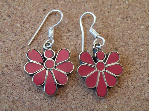 Coral earrings **Silver Polished**