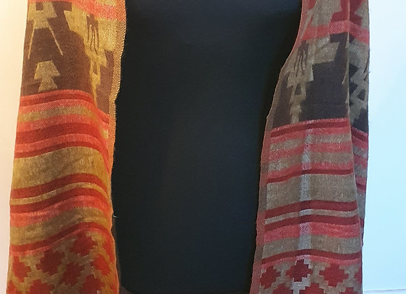 Large Double Sided Yak Woollen Shawl/Blanket ( Brown, Rusty Orange ,Brown)
