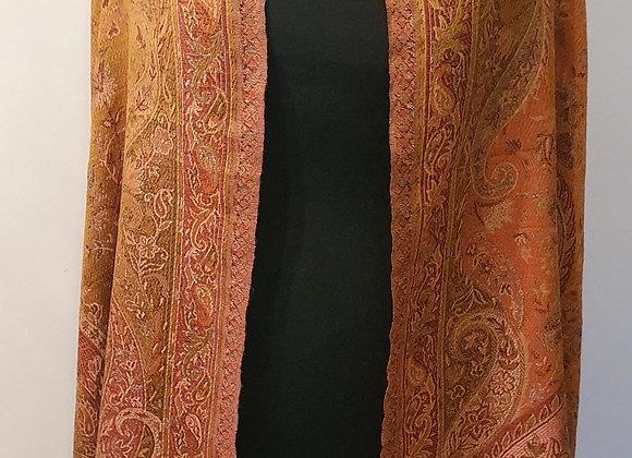 Large Double Sided Fine Woollen Shawl/Blanket ( Rusty Orange & Mustard Colour)