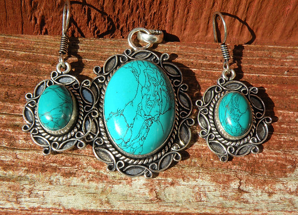 Turquoise Earring Pendent Set