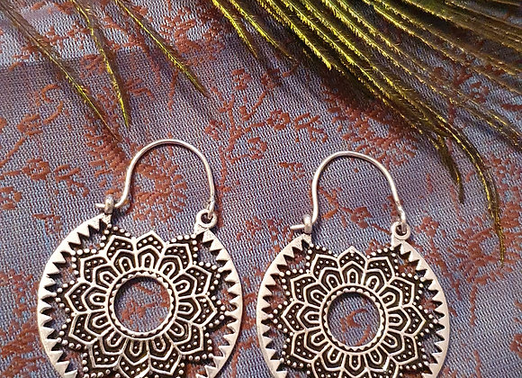 Mandala Earrings( Silver Plated )
