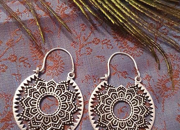 Mandala Earrings( Silver Plated )