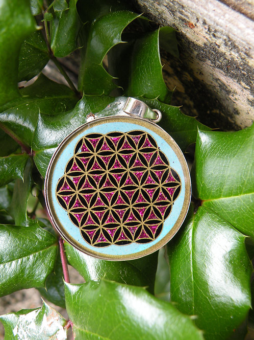 """Flower Of Life"" Sacred Geometry in Turquoise St.Silver"