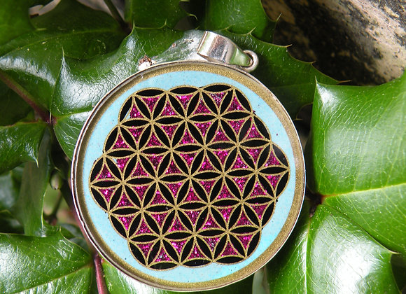 """""""Flower Of Life"""" Sacred Geometry in Turquoise St.Silver"""