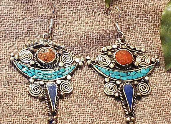 Eye Tibetan Earrings (Silver Plated)