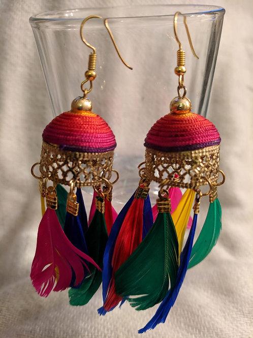 Multicolour feather earrings