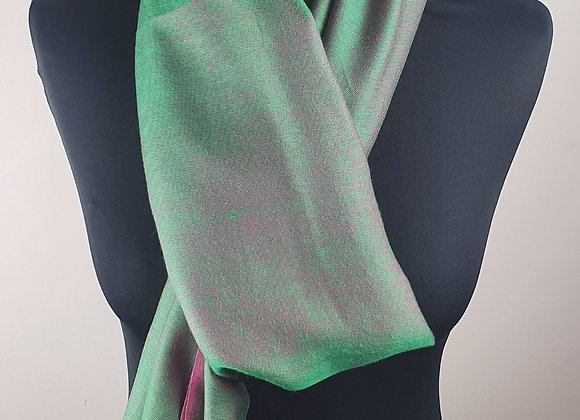 Double Shaded Pashmina In Soft Emerald Green and Pink