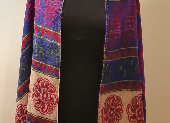 Large Double Sided Cosy Yak Woollen Shawl/Blanket (Blue, Pink)