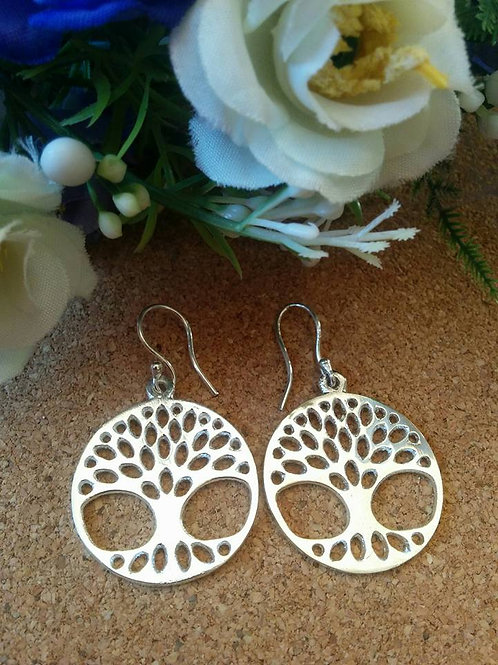 """Tree Of Life"" silver polished Earrings"