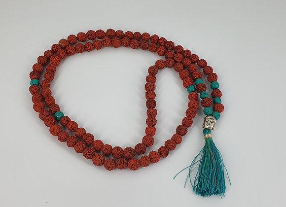 Authentic Shiva  Rudraksha Mala for  Chanting Meditation with turquoise Beads