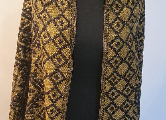 Large Double Sided Yak Woollen Shawl/Blanket (Yellow Ochre ,Black)