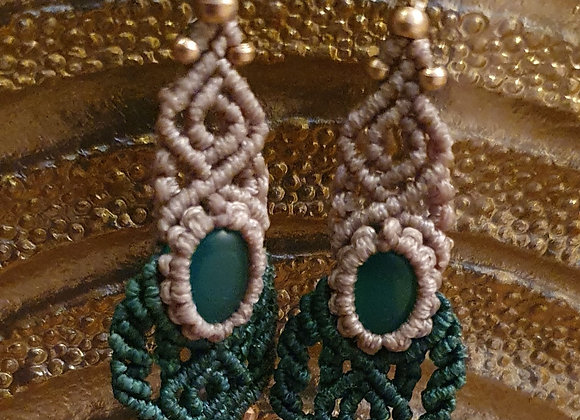 Handmade Macramé Green Onyx  Earrings ( Brass)