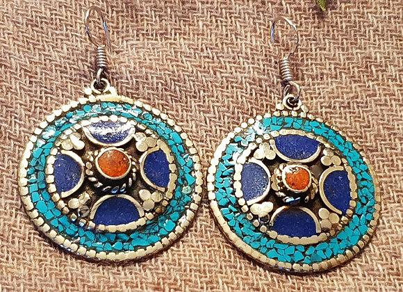 Chakra Tibetan Earrings (Silver Plated)
