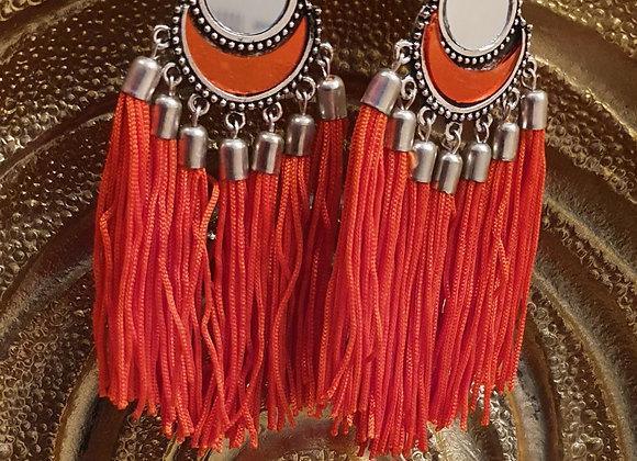 Orange Super Tassel Mirror Earrings