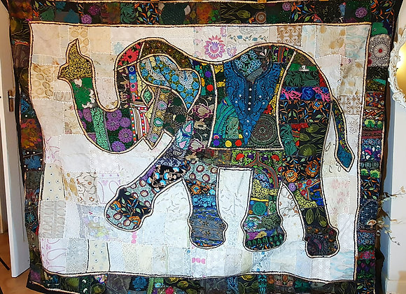 Elephant Green Colour  Fabric Patch Wall Art