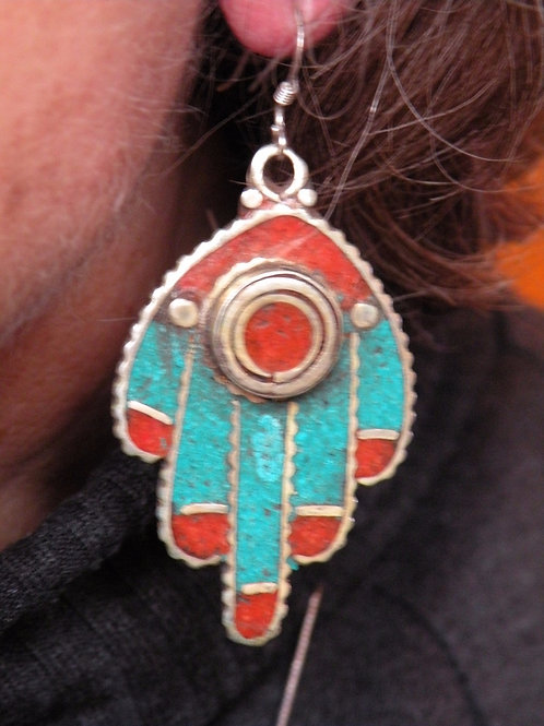 Hamsa Earrings With Coral and Lapis Inlay Silver Polish