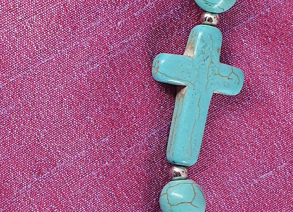 Silver Plated Christ Turquoise Bracelet