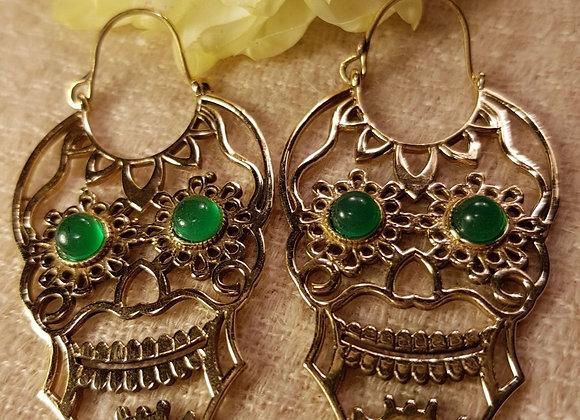 Skull Earring (Green Onyx with Brass)#2