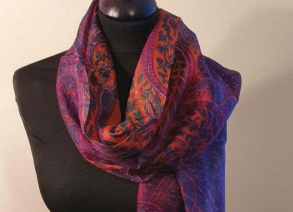 Fine Floral Print Silk scarf (Purple, Magenta)