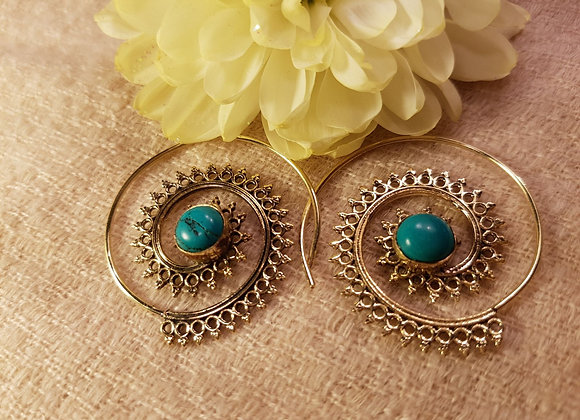 Spiral Floral Earring (Brass With Turquoise))