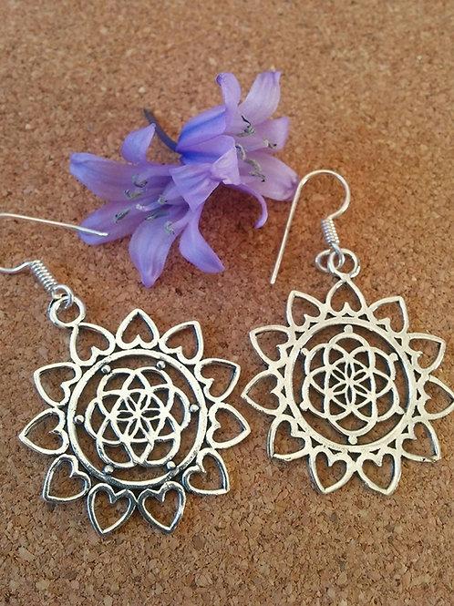 """Seed Of Life""  Mandala Design Earrings silver Polished"
