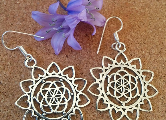 """Seed Of Life""  Mandala Design Earrings (Silver Plated)"