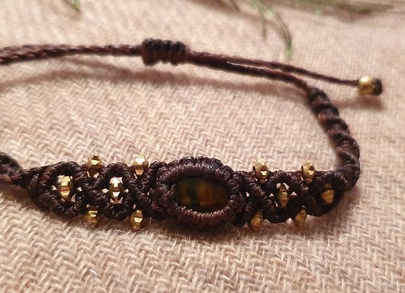 Tigers Eye Macramé Brown Bracelet